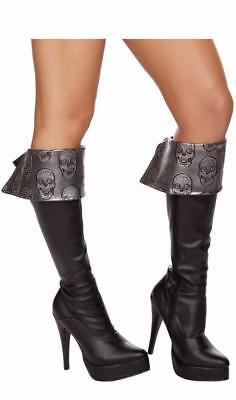 Metallic Skull Boot Cuffs Toppers Lace Up Silver Black Pirate Costume 4572B (Pirate Boot Cuffs)
