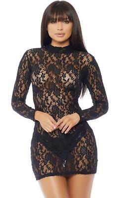 Lace Dress Long Sleeve Mock Neck Sheer Zipper Lingerie Clubwear Costume 665360](Plain Black Dress Halloween Costume)