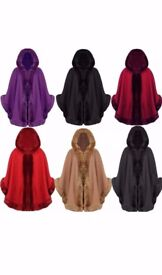 Women Faux Fur Poncho Cape Trim Hooded Celeb Jacket Outwear Fashion