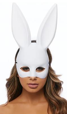 Edgy Bunny Mask Elastic Strap Rabbit Masquerade Costume Tall Ears White - White Rabbit Mask