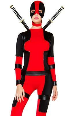 Rebellious Superhero Costume Bodysuit Jumpsuit Mask Harness Deadpool 556529 - Superhero Bodysuit