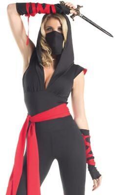 Mortal Ninja Costume Hooded Bodysuit Gloves Sash Leg Wraps Dragon BW1430 M/L