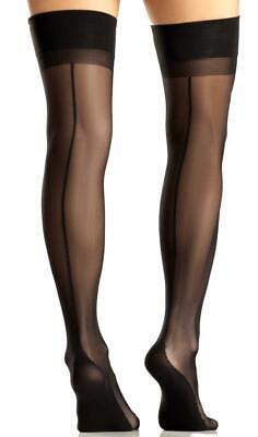 Black Cuban Foot Heel Thigh Highs Stockings Back Seam Sheer Hosiery BW720 - High Heel Sheer Stockings