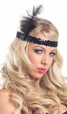 Sequin and Feather Flapper Headband Head Piece Costume 20s Prohibition Era BW226 (Prohibition Era Costumes)