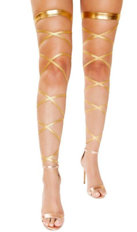 Metallic Leg Wraps Straps Garter Golden Goddess Costume Dance Rave Club 4929