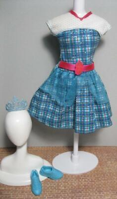 Barbie Doll HADLEY Princess Charm School BLAIR SHORT BLUE DRESS Tiara SHOES set Barbie Blue Princess Doll