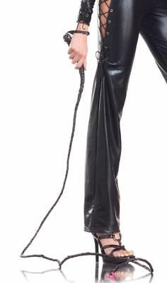 Faux Leather Long Whip Braided Cat Woman Indiana Jones Lion Tamer Costume BW229 - Costume Whip