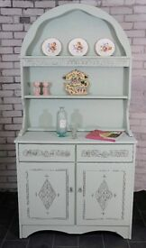 Rustic chic vintage dresser display with drawer & cupboard storage in duck egg blue