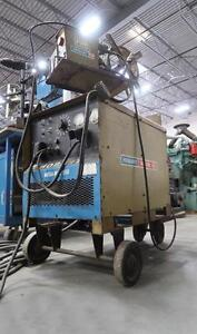 Hobart Welder Mega Mig 650 on cart with Hobart 27 Wirefeeder