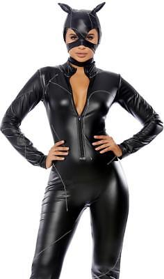 Forplay Costume (Claws Out Catwoman Costume Faux Leather Catsuit Stitching Ears Mask)
