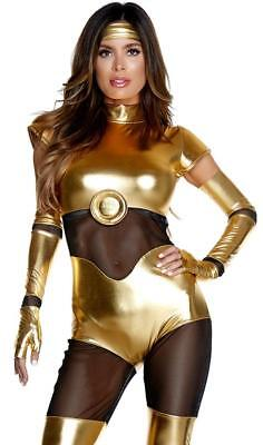 Like Its Golden Costume C3PO Droid Metallic Bodysuit Catsuit Gloves - Womens C3po Costume