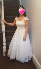 Ivory tea length wedding dress