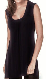 Ladies Black Ruched Scoop Neck Sleeveless Comfort Fit Tunic Top.Size 22/24.