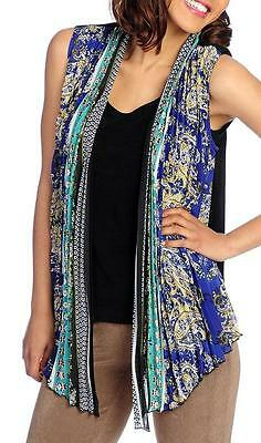 New   Affinity For Knits  Mixed Media Open Front Pleated Chiffon Vest   Sz M