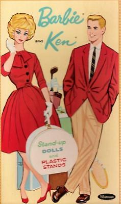 VINTAGE UNCUT 1962 BARBIE & KEN PAPER DOLLS~#1 REPRODUCTION~LARGE WARDROBE~NICE!