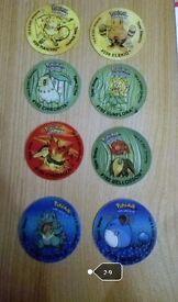 Collectible Pokemon holographic Tazos nos 2-9