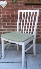 VVanson Chair painted in Antique White & reupholstered in Olive Green with white spots
