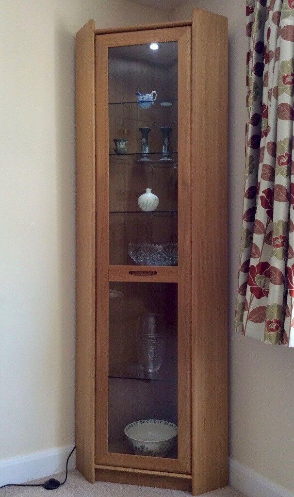 Corner Display Cabinet Light Oak Internal Glass Shelves