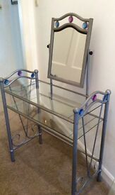 Beautiful chrome and glass dressing table and matching bedside table. Fantastic condition.