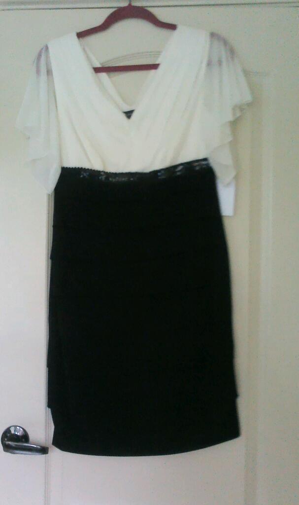 Designer dress black & cream