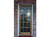 WOODEN EXTERNAL GLAZED DOOR COMPLETE WITH FITTINGS