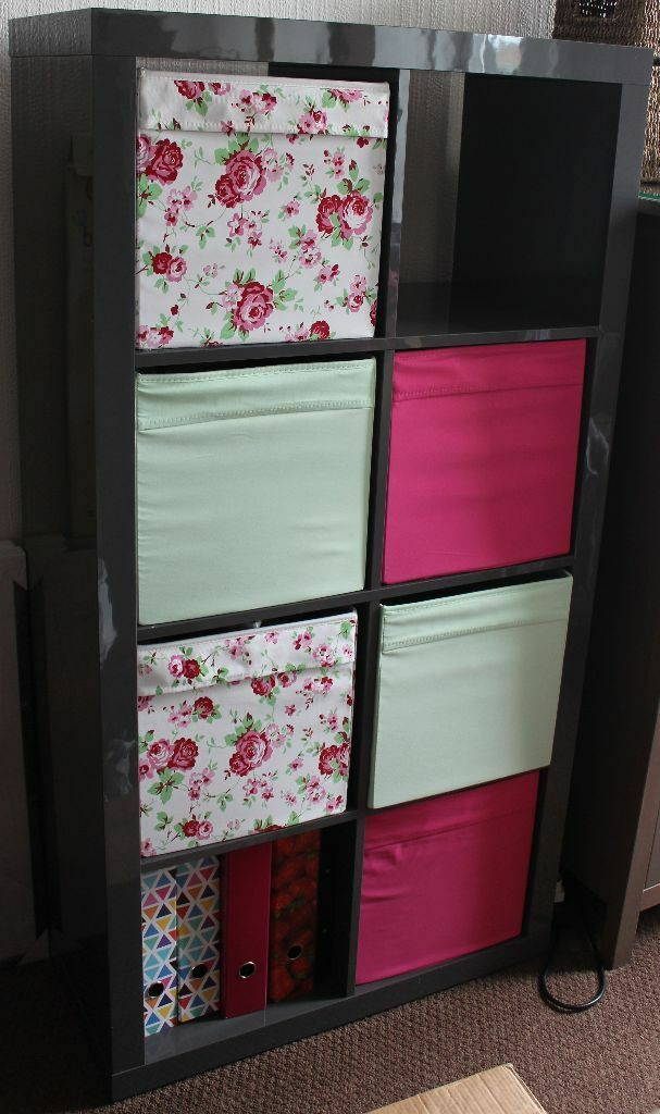 ikea kallax high gloss grey vertical shelving unit 8 cubes bookcase 6 drona boxes pink green. Black Bedroom Furniture Sets. Home Design Ideas