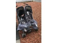 Maclaren double buggy, raincover, newborn insert and cozy toes