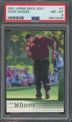 2001 Upper Deck Golf #1 Tiger Woods RC Rookie PSA 8