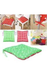2x Tie on chunky two sided polka dot cotton seat pad cushions