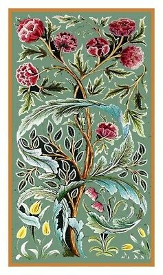 William Morris Oak Roses Design Counted Cross Stitch Chart Pattern Designer Rose Cross