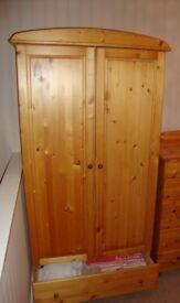 Pine freestanding wardrobe