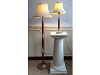 2 x Matching Vintage Retro Teak Metal Wood Floor Standing Standard + Table Lamps