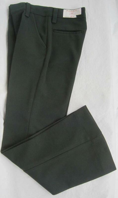 FARAH Knits Vintage Boys Sz 11 SLIM GREEN Pants 23.5Wx25L 100% Polyester 1980s