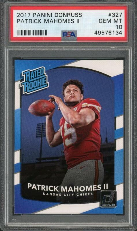 2017 Patrick Mahomes Rated Rookie Graded Gem Mint GMA 10 compares to psa 10