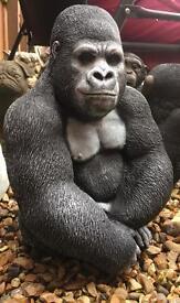 Stone garden statues gorilla chimp etc