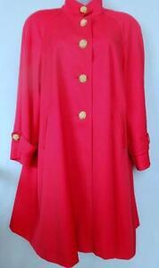 Womens L XL SWING COAT SPRING RAINCOAT Rain Repellent Wool HOT PINK 14 16 Maternity Wide Hip Vintage deadstock OAKVILLE