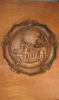 Hand-Carved Chichester Cathedral German Wood Plate Wall-Hanging