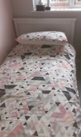 2 White Single Beds