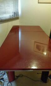 Red lacquered extending table