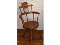 Dentist Barber Antique wooden Chair Vintage Industrial decor Victorian Seating macabre mancave