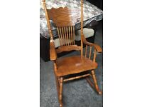 STUNNING HAND CARVED WOODEN ROCKING CHAIR