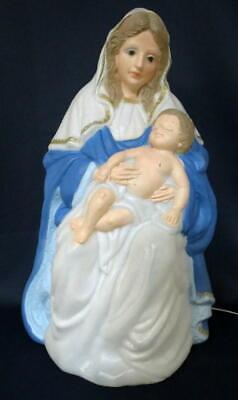 Vintage 26 Tall 1996 TPI Virgin Mary & Baby Jesus Nativity Set Lighted Blow Mold