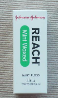 (Johnson and Johnson Mint Waxed Dental Floss Reach 200 yd spool  refill NIP)