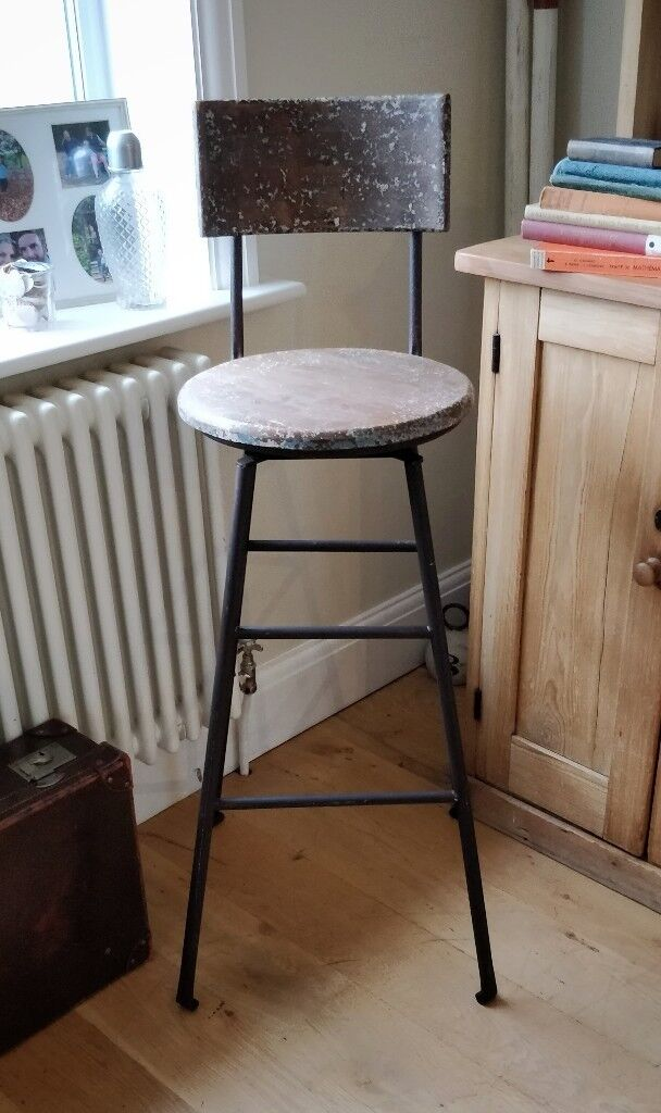 Vintage Factory Stool Work Kitchen Retro Bar