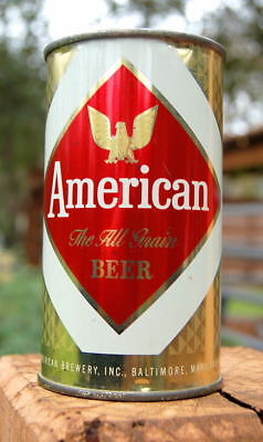 GORGEOUS AMERICAN OF BALTIMORE FLAT TOP BEER CAN!  B/O ALL-ORIGINAL BEAUTY!