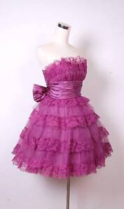 Betsey Johnson Evening Mini Tea Party Dress Sz 6 Purple