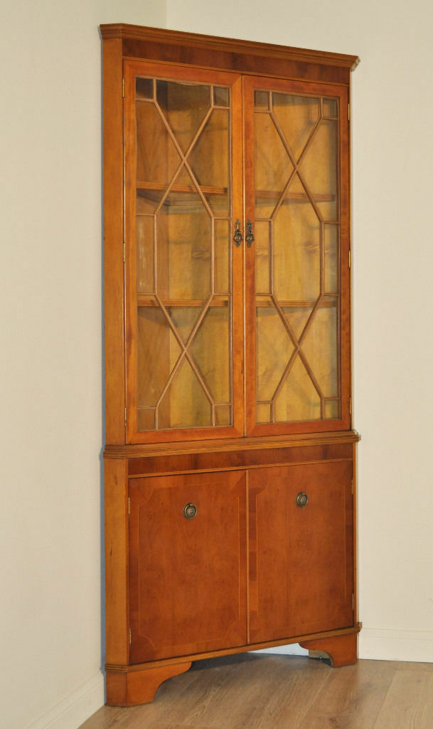 Attractive Tall Large Vintage Yew Wood Glazed Corner Display Cabinet Cupboard