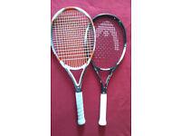 Two Tennis Rackets Head & Dunlop Grip 4/5