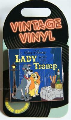 DISNEY VINTAGE VINYL LADY AND THE TRAMP ALBUM RECORD SLIDER PIN LE 3000