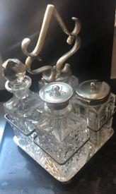 Victorian Silver Plated GCW Glass Cruet Condiment Set & Caddy